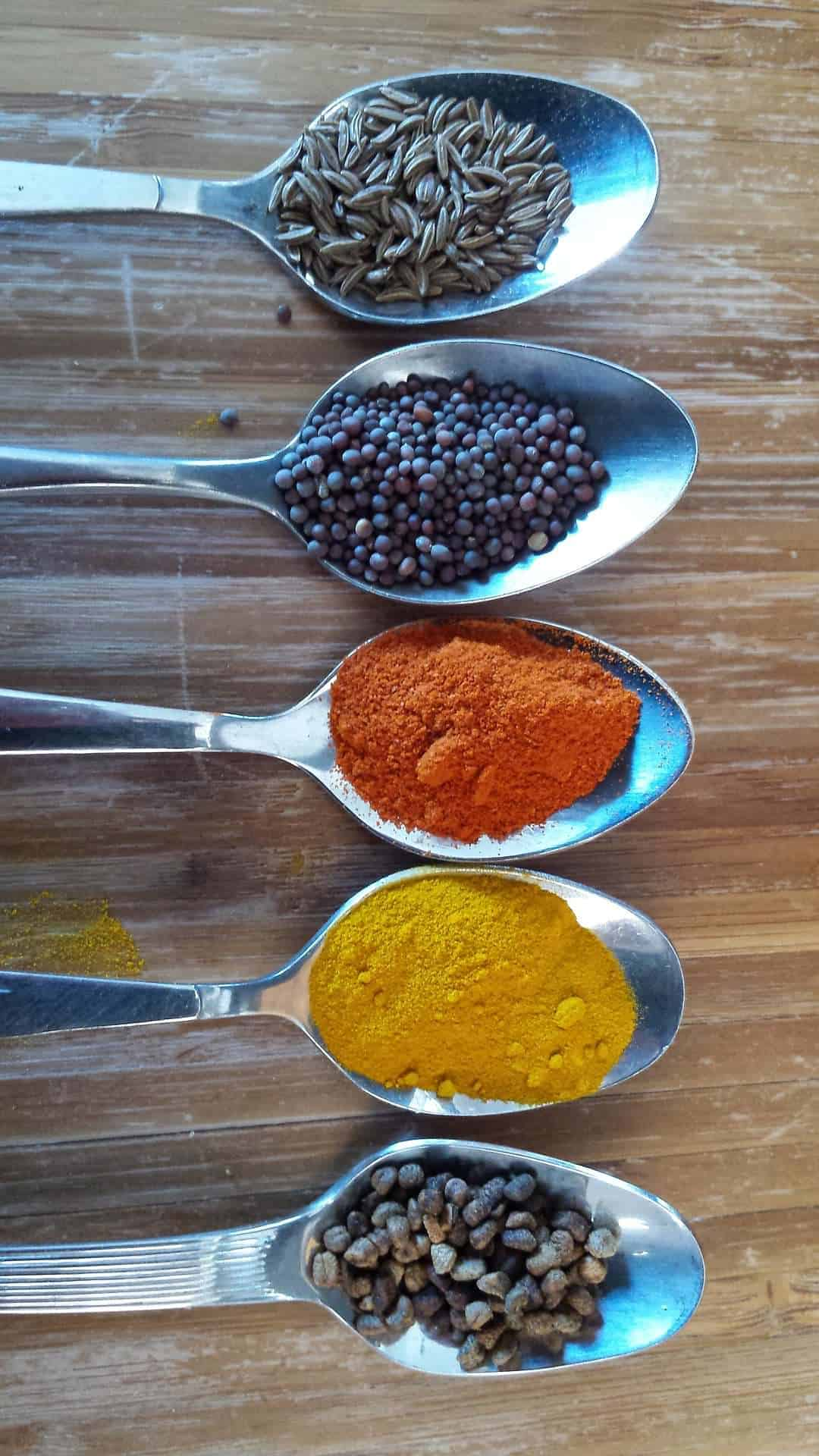 5 spoons full of different spices