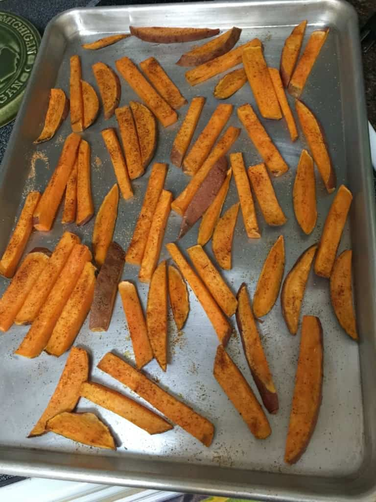 seasoned sweet potato fries just out of the oven